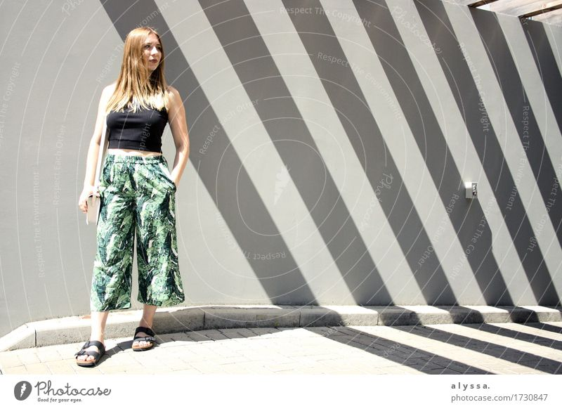 Floral Culotte. Human being Woman Youth (Young adults) City Summer Green Young woman House (Residential Structure) 18 - 30 years Adults Architecture