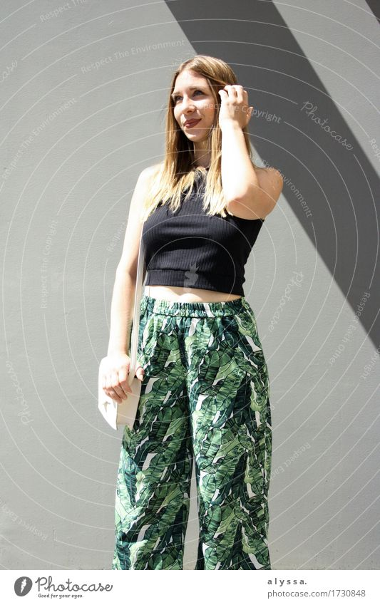 Floral Culotte II Human being Woman Youth (Young adults) City Summer Green Young woman 18 - 30 years Adults Architecture Feminine Gray Fashion Stone Facade
