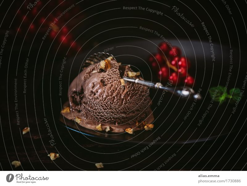 chocolate shock Ice cream Chocolate Chocolate ice cream Cold Summer Redcurrant Dark Food Healthy Eating Dish Food photograph Delicious To enjoy Nutrition