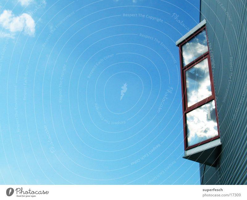 Sky Blue Architecture Glittering Glass Free Tin Oriel