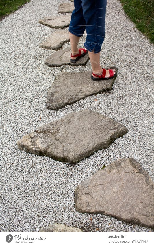 stand Balance Legs Feet Garden Walking Nature Park Lanes & trails Sidewalk Footpath Summer Sun Copy Space Vacation & Travel Plant Caution Growth Gravel Stone