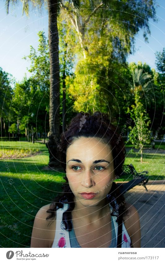Looking Face Woman Garden Park Pout Mouth Muzzle Think Interesting Hair Colour Green Grass Lawn Sky Tree Youth (Young adults)