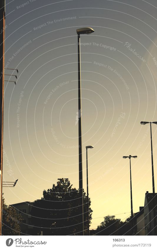Photo number 128786 Colour photo Exterior shot Experimental Morning daylight Light Reflection Town Emotions Moody Lamp Lantern Lamp post Sky Direction