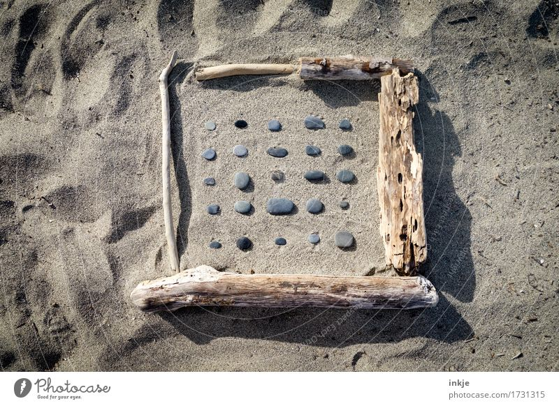 Vacation & Travel Summer Sun Beach Wood Stone Sand Line Lie Leisure and hobbies Creativity Beautiful weather Collection Square Difference Frame