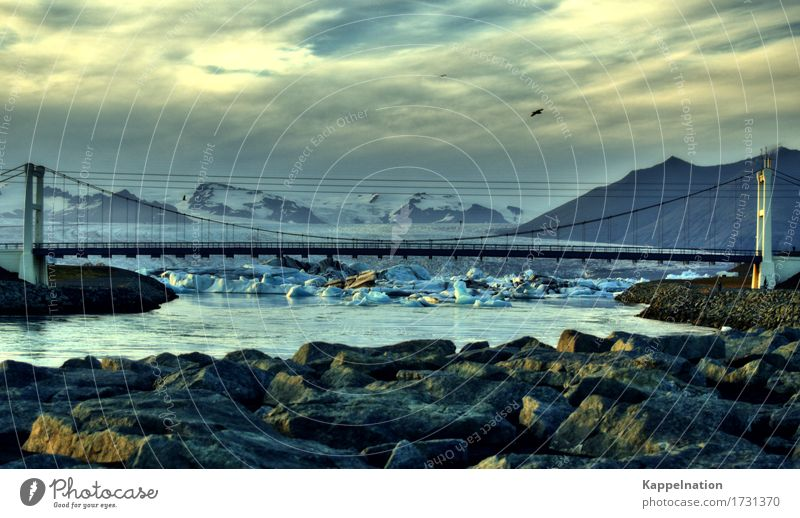Jökulsárlón on Iceland Environment Nature Water Frost Glacier Bay Fjord River Europe Deserted Bridge Gigantic Infinity Movement Horizon Environmental protection