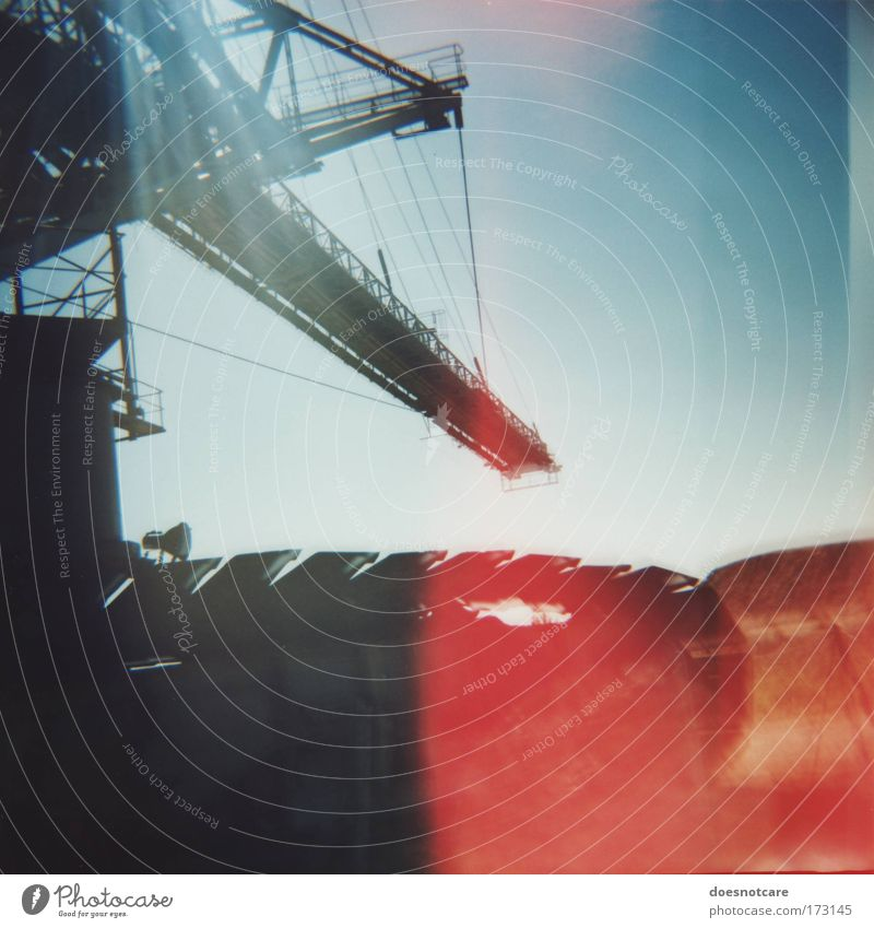 Sky Red Metal Large Industry Machinery Leipzig Crane Double exposure Equipment Environmental pollution Blue sky Excavator Mining Medium format Tracked vehicle