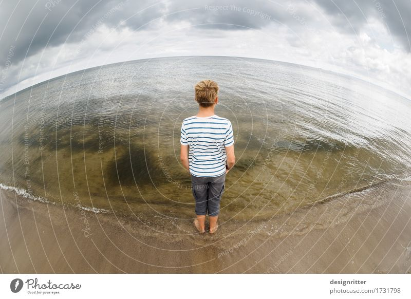 horizontally Vacation & Travel Far-off places Freedom Summer Summer vacation Beach Ocean Waves Masculine Child Boy (child) Youth (Young adults) 1 Human being