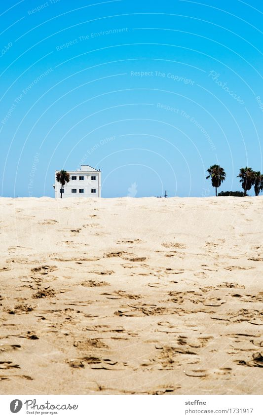 beach house Beach Vacation & Travel Los Angeles Warmth Palm tree House (Residential Structure) Beach hut Playing family vacation Pacific Ocean Dune Footprint