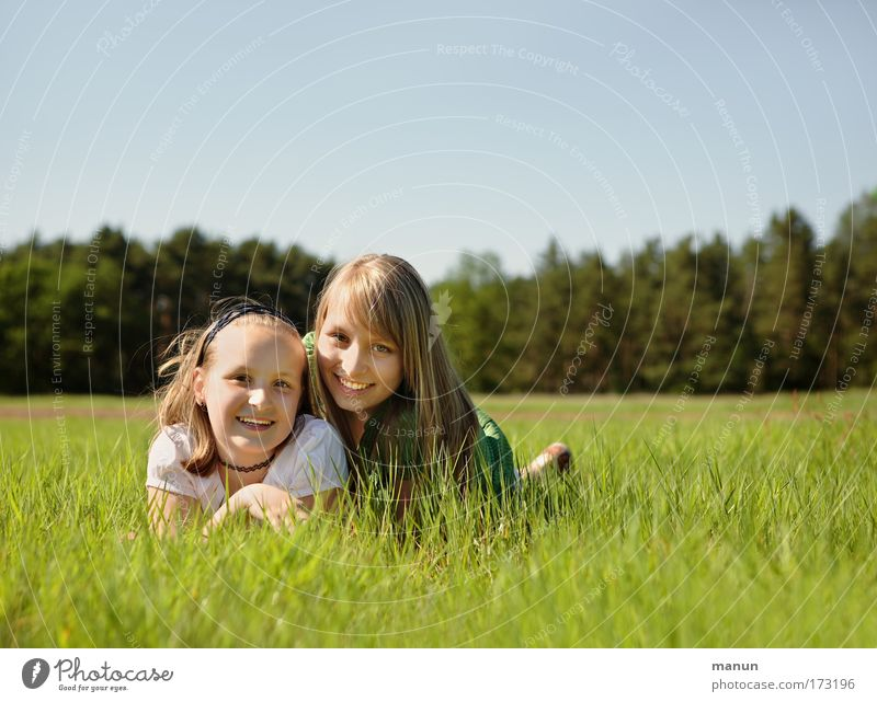 Human being Child Woman Nature Youth (Young adults) Girl Summer Joy Life Meadow Feminine Spring Happy Family & Relations Friendship Contentment