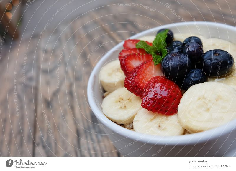Acai bowl strawberry blueberry banana wooden table Yoghurt Fruit Dessert Nutrition Breakfast Vegetarian diet Diet Bowl Summer Fresh Delicious Energy acai cup