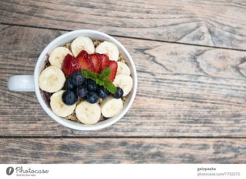 Acai bowl strawberry blueberry banana wooden table Yoghurt Fruit Dessert Nutrition Breakfast Vegetarian diet Diet Bowl Healthy Health care Healthy Eating