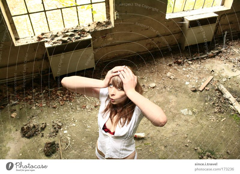 oh, fright... Colour photo Exterior shot Interior shot Abstract Day Long exposure Bird's-eye view Upper body Upward Human being Feminine Young woman