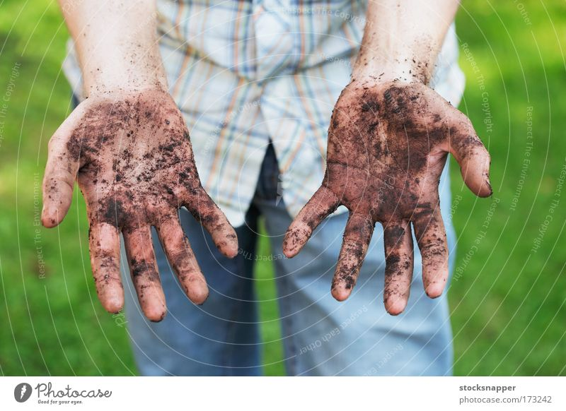 Dirty hands Gardener Day Fingers showing soil Gardening dirt palm palms Hand Exterior shot