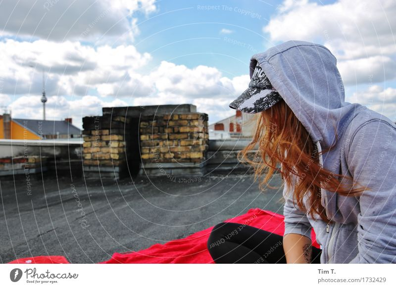 Human being Youth (Young adults) Town Young woman Berlin Feminine Head 13 - 18 years Roof Tourist Attraction Skyline Capital city Old town Downtown Identity