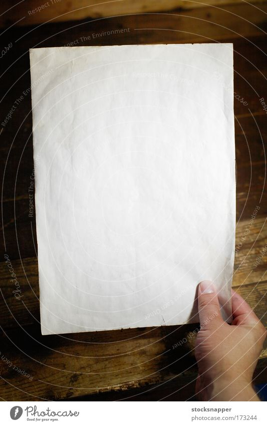 Note Hand White Dirty Empty Paper Human being Communication Empty Blank