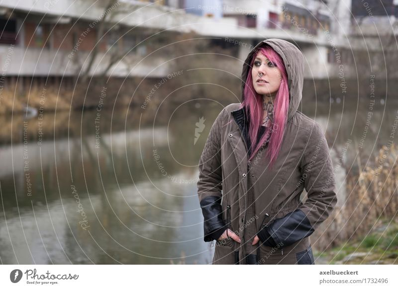 woman with pink hair in bleak surroundings Human being Woman Youth (Young adults) City Young woman White 18 - 30 years Adults Lifestyle City life Copy Space Authentic Poverty River Tattoo River bank