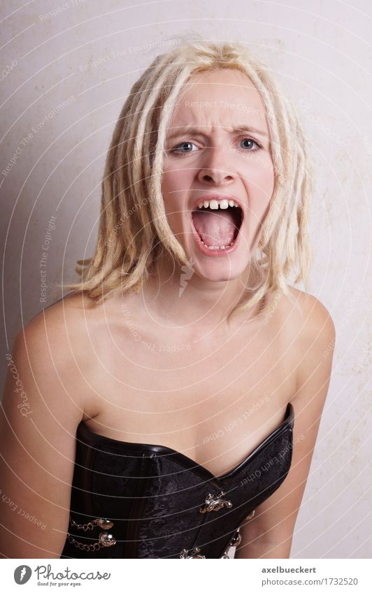 screaming young woman Human being Woman Youth (Young adults) Young woman 18 - 30 years Adults Emotions Lifestyle Feminine Blonde Mouth Anger Argument Scream