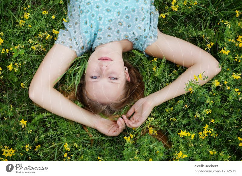 upside down portrait Human being Woman Nature Youth (Young adults) Summer Young woman Flower Relaxation 18 - 30 years Adults Spring Meadow Grass Lifestyle