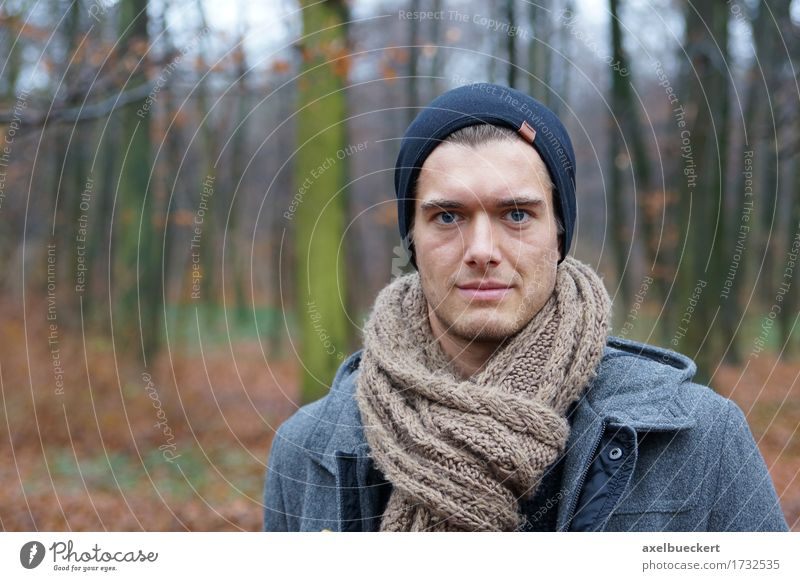 young man in the woods Human being Nature Youth (Young adults) Man Landscape Young man Winter Forest 18 - 30 years Adults Autumn Lifestyle Style Masculine