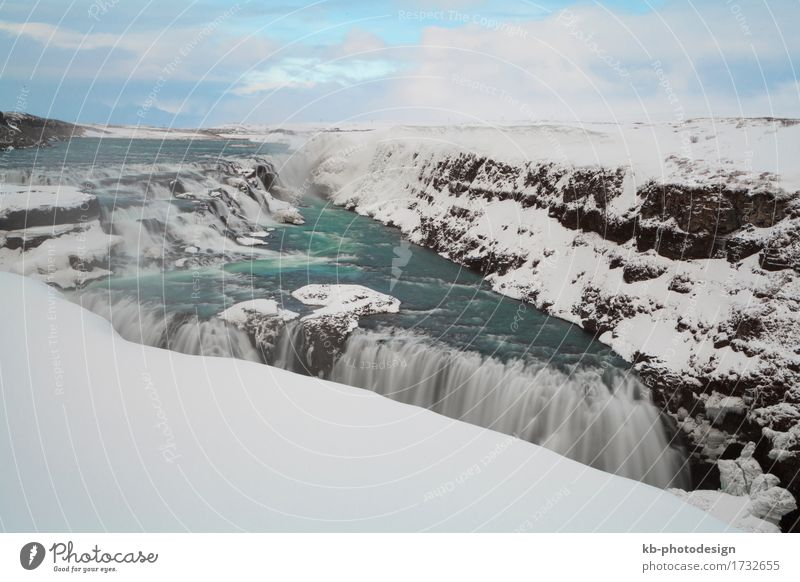 Famous waterfall Gullfoss in Iceland wintertime Sightseeing Winter Snow Winter vacation Mountain Nature Weather River Waterfall Vacation & Travel Golden Circle