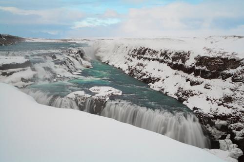 Nature Vacation & Travel Winter Mountain Snow Weather Europe River Iceland Sightseeing Waterfall Winter vacation Gullfoss