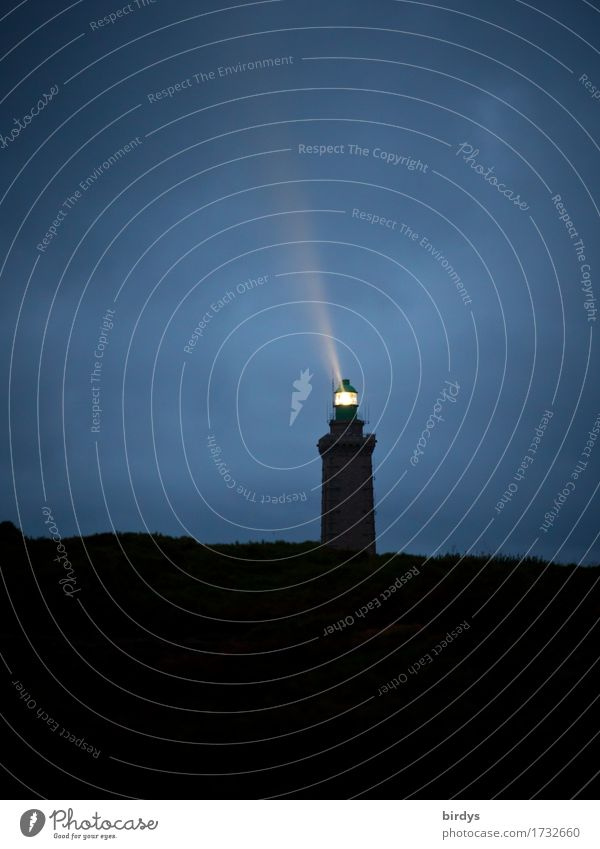 Vacation & Travel Blue Loneliness Calm Black Yellow Coast Exceptional Illuminate Hope Safety Target Trust Positive Lighthouse Night sky