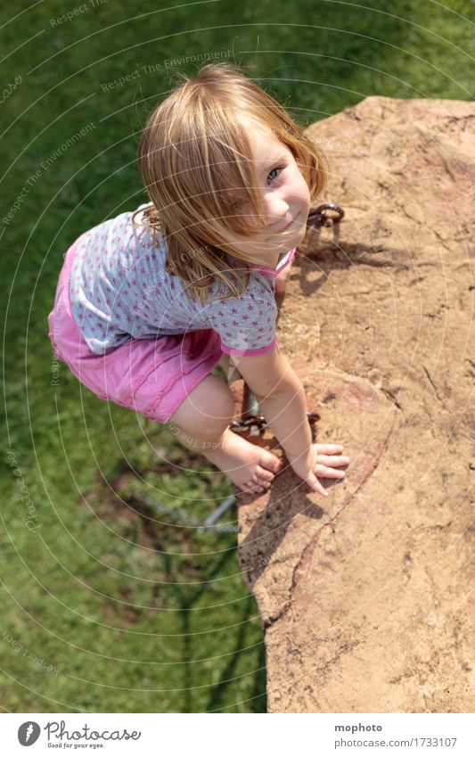 Human being Child Nature Joy Girl Meadow Playing Happy Masculine Trip Infancy Dangerous Smiling Joie de vivre (Vitality) Adventure Fear of heights