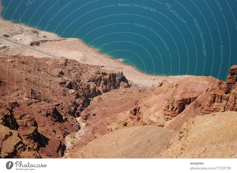 Dead Sea Environment Nature Landscape Earth Sand Water Summer Climate Climate change Weather Beautiful weather Drought Rock Bay Desert Blue Brown The Dead Sea