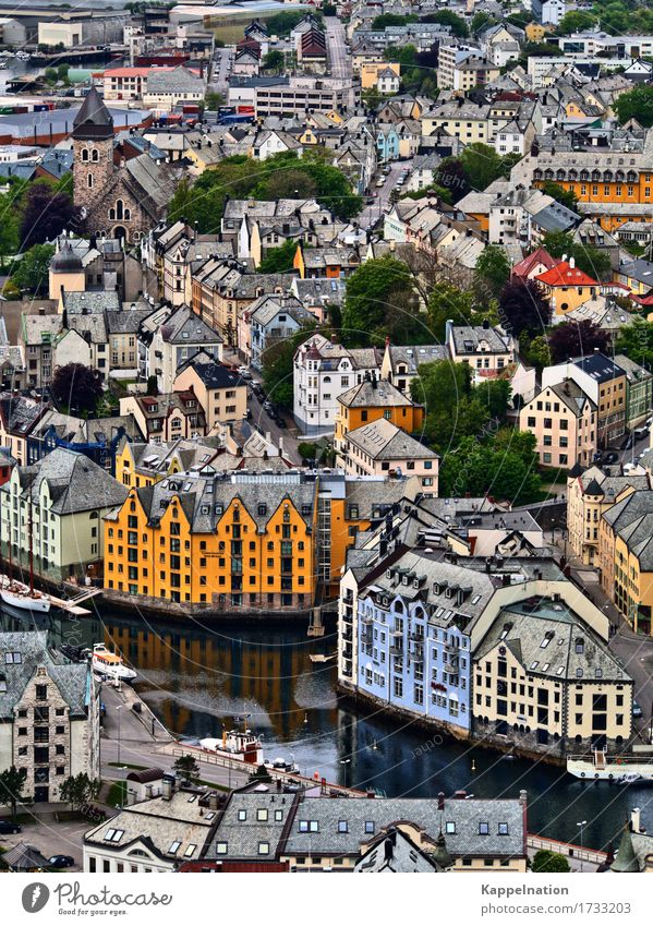 Alesund city view alesund Norway Europe Port City Old town House (Residential Structure) Church Harbour Architecture Monument Observe Blue Yellow Town Fjord