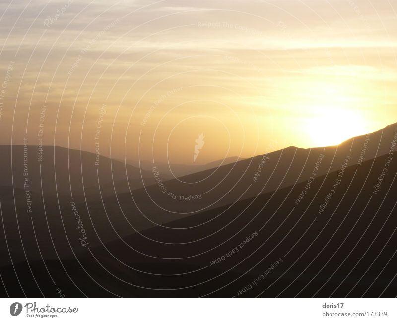 Beautiful Sky Sun Red Black Yellow Far-off places Sand Landscape Brown Gold Esthetic Desert Elements Namib desert