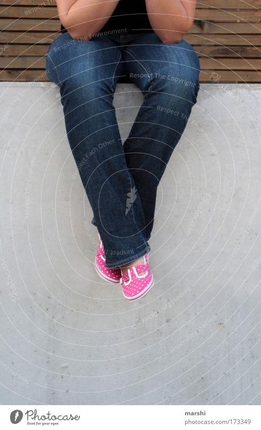 Human being Joy Relaxation Feminine Emotions Wood Stone Footwear Legs Wait Arm Pink Sit Perspective Cool (slang) Jeans