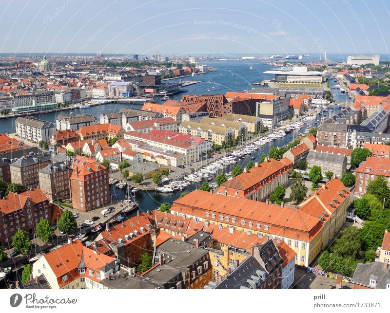 Copenhagen in Denmark Ocean Culture Coast Town Capital city Harbour Manmade structures Building Architecture Above Tradition Europe Scandinavia communal customs