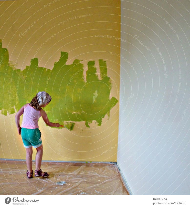 Human being Child Action Green Girl Joy Colour Life Wall (building) Dye Happy Moody Infancy Happiness New Painting (action, work)