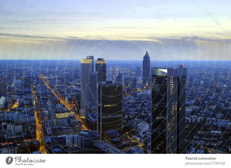 Frankfurt from above Tourism Sightseeing City trip Workplace Financial Industry Financial institution Business Environment Sky Horizon Beautiful weather Germany