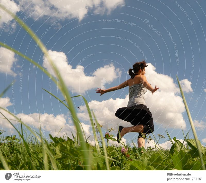 Human being Nature Youth (Young adults) Beautiful Sky Summer Joy Clouds Life Meadow Feminine Movement Freedom Dance Healthy