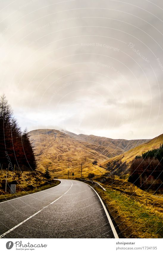 curved Vacation & Travel Trip Adventure Far-off places Environment Nature Landscape Elements Clouds Climate Bad weather Mountain Highlands Scotland Deserted
