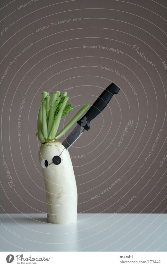Rettic - Attack Colour photo Food Vegetable Nutrition Organic produce Vegetarian diet Knives Healthy Creepy White Emotions Brave Fear Dangerous Pirate Eyes