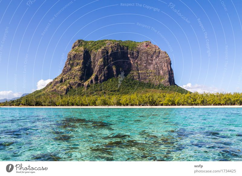 Le Morne Brabant in Mauritius with sea panorama Vacation & Travel Tourism Summer Ocean Island Mountain Water Coast Blue White Sky Sandy beach Tropical travel