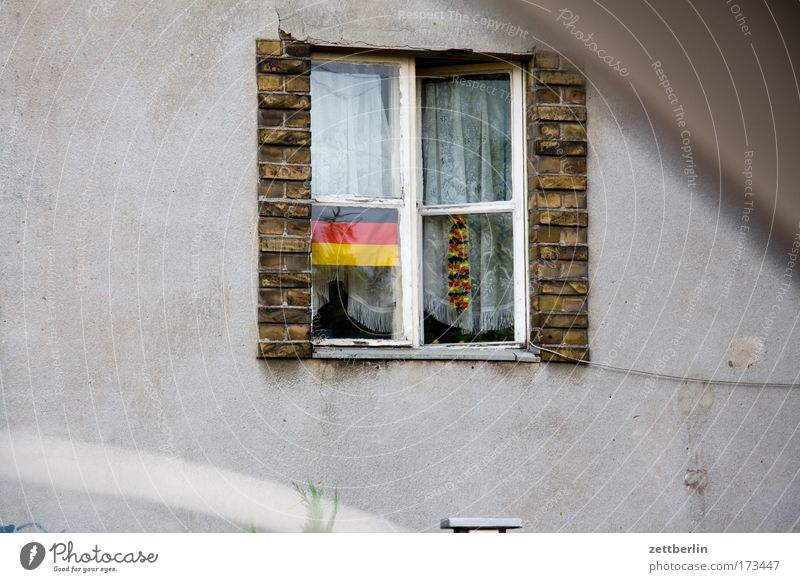 House (Residential Structure) Window Germany Facade Flag Decoration German Flag Landmark Pride Detached house Nationalities and ethnicity