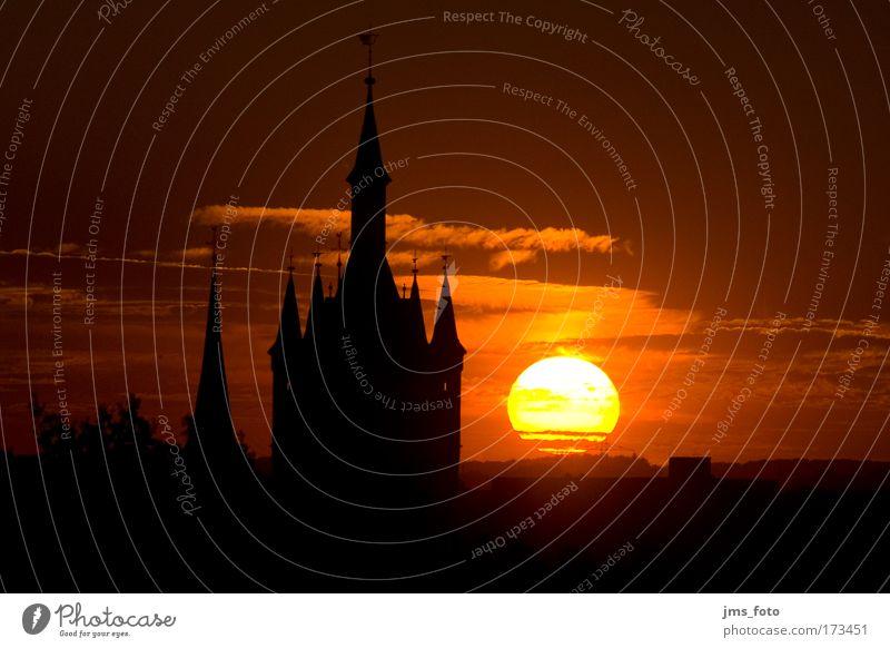 Sun Red Calm Black Yellow Warmth Church Tower Skyline Sunset Landmark Beautiful weather