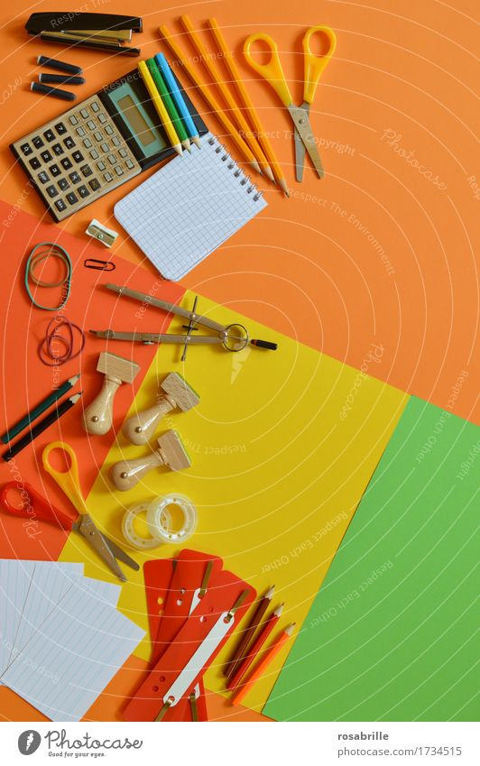 colorful workplace - school utensils on orange background Education School Study Professional training Work and employment Office work Workplace Claw Stationery