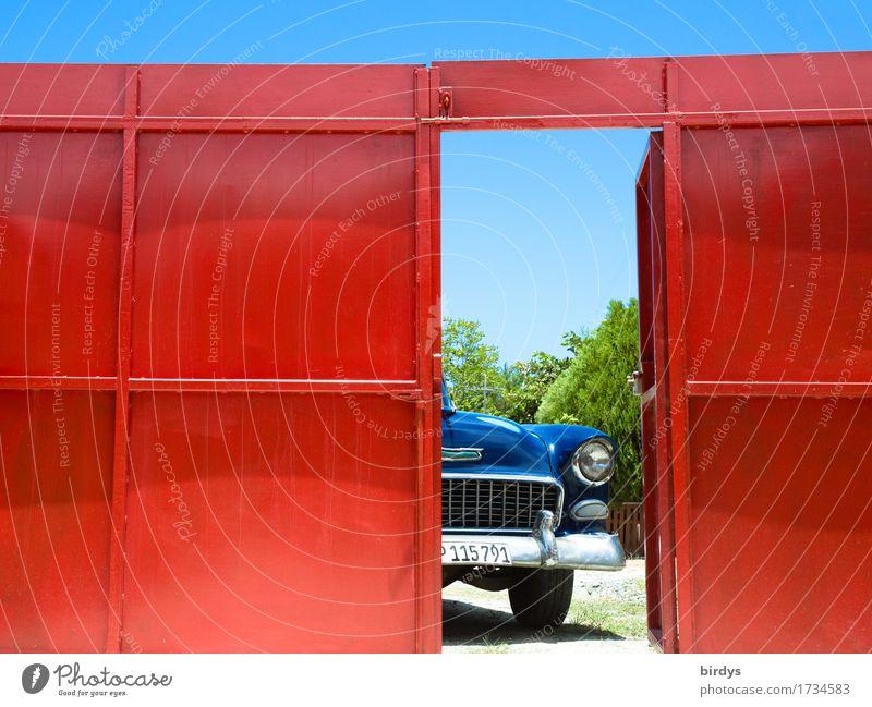 Vacation & Travel Blue Summer Red Style Exceptional Freedom Design Glittering Door Open Esthetic Retro Wait Joie de vivre (Vitality) Warm-heartedness