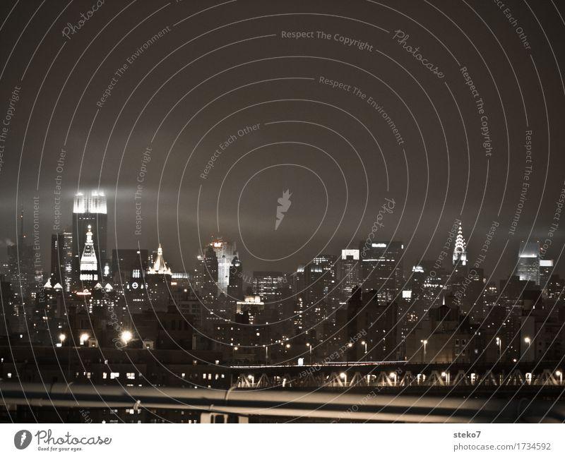City Dark Cold Glittering Gloomy High-rise Skyline Landmark Bad weather New York City