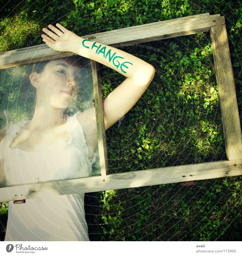 Human being Youth (Young adults) Hand Green Summer Face Feminine Meadow Window Think Spring Dream Arm Skin Lie Change