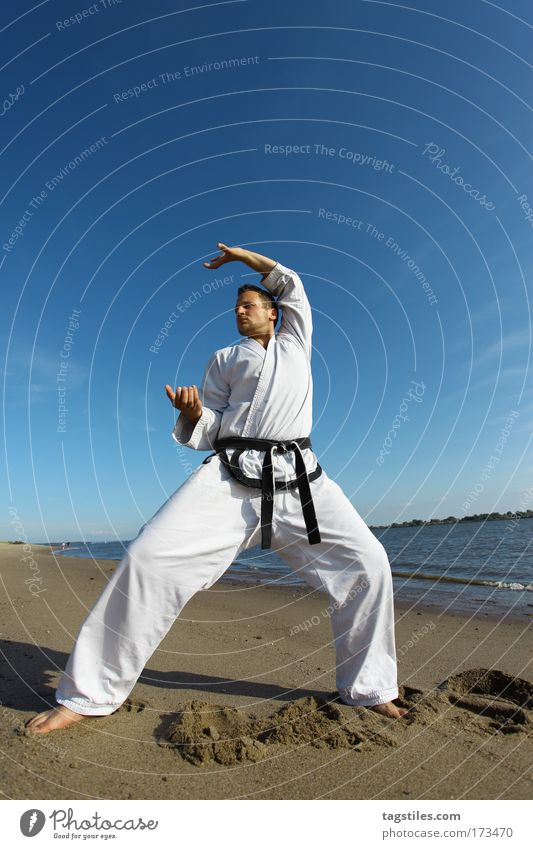 Man Black Power Force Posture Guy Testing & Control Fight Fellow Belt Claw Martial arts Defensive Copy Space Karate Fighter