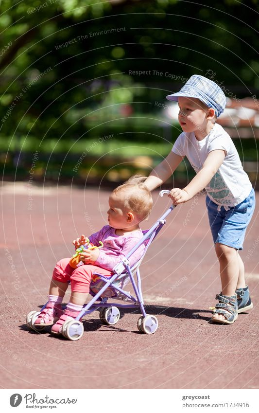 Boy pushing sister in a stroller Human being Child City Summer Girl Boy (child) Family & Relations Playing Garden Park Blonde Infancy Happiness Baby Toddler