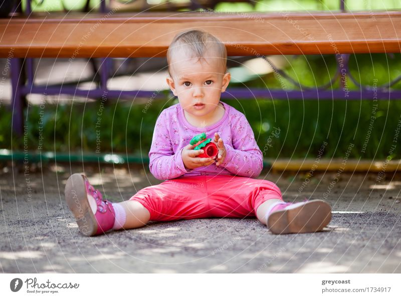 Small baby playing with toy sitting on the ground in the park and looking to the camera Joy Playing Summer Child Baby Girl Infancy 1 Human being 1 - 3 years