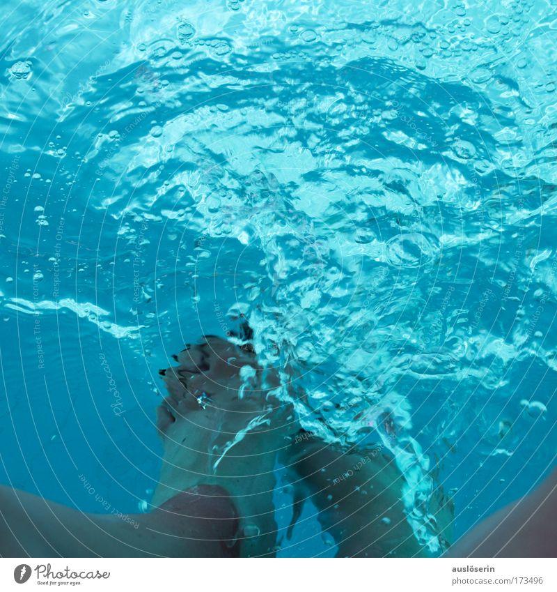 Blue Water Summer Joy Movement Legs Feet Waves Swimming & Bathing Wet Happiness Swimming pool Fluid Foot bath