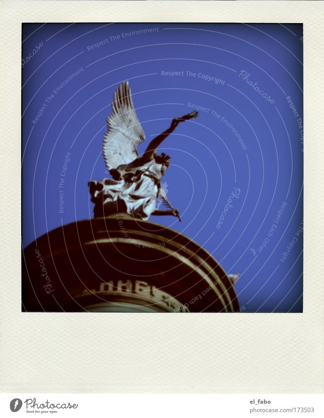 Honor! SECOND Colour photo Exterior shot Detail Polaroid Day Sunlight Worm's-eye view Sculpture Sky Summer Beautiful weather Siegburg Monument Angel of peace