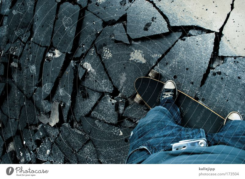 so much broken... Colour photo Subdued colour Exterior shot Detail Copy Space left Day Bird's-eye view Lifestyle Style Leisure and hobbies Human being Man